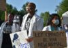 Medical workers protest in New York City following the death of George Floyd