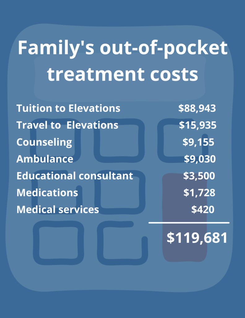 A chart of the family's out-of-pocket treatment costs