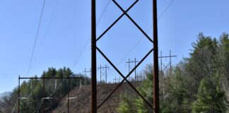 Power lines with trees in the background
