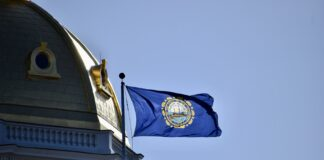 State flag and state house dome