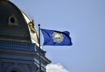 State flag and the State House dome
