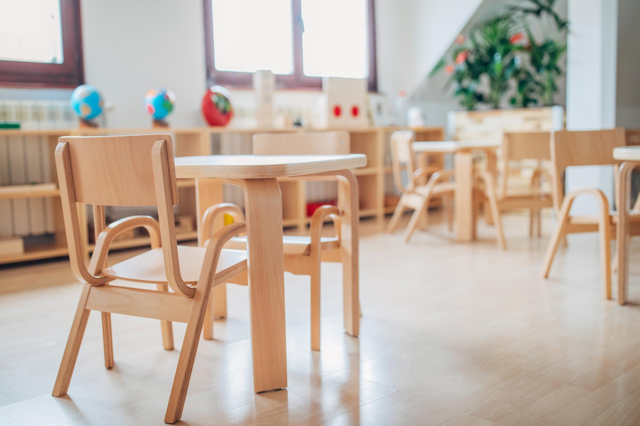 An empty preschool desk