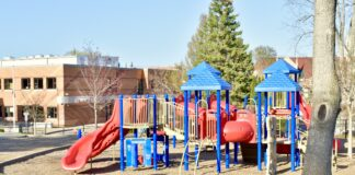 An empty school playground