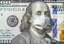 Ben Franklin on 100 dollar bill wearing a mask
