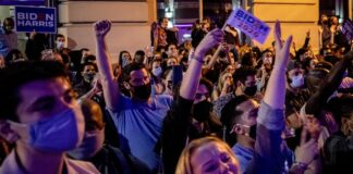 People celebrate Biden victory