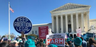 Protesters in front of the Supreme Court