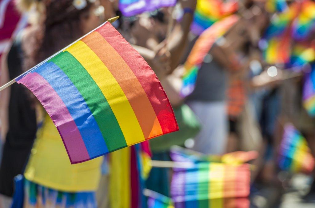 A pride flag outside