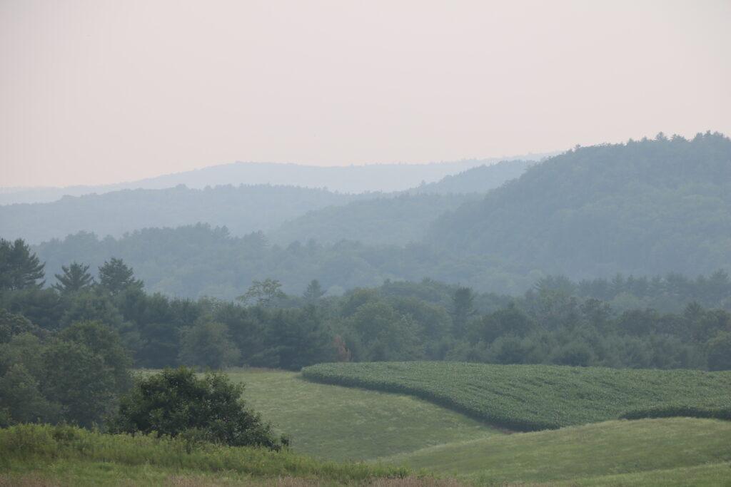 Rolling green fields beneath a smoky sky