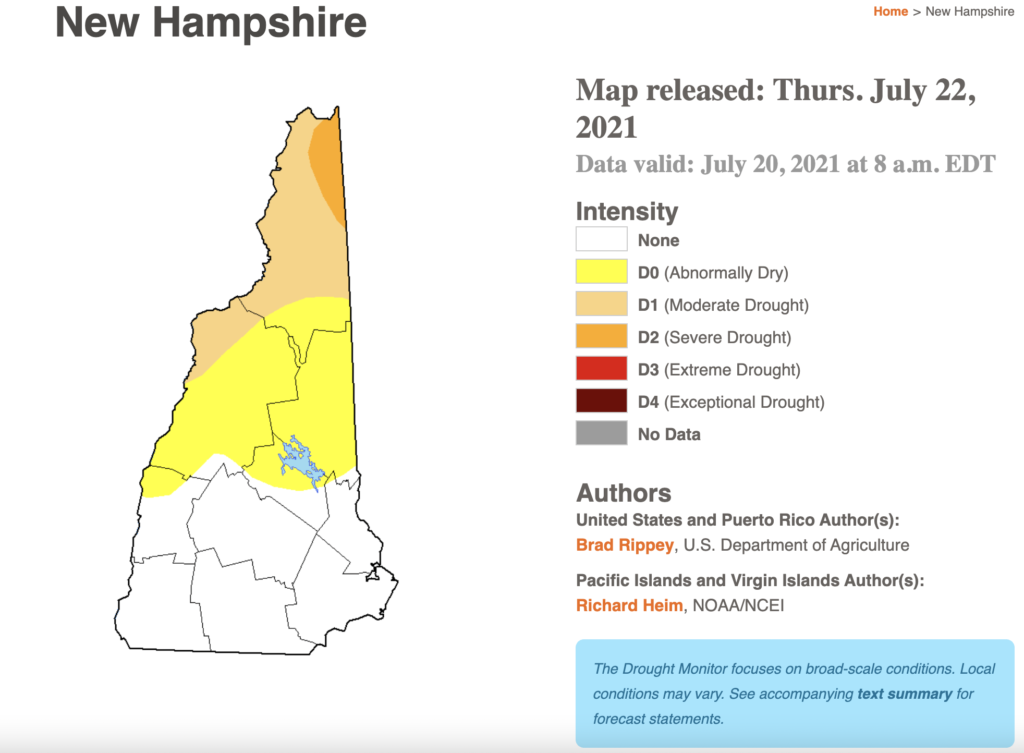 A map showing drought conditions in New Hampshire