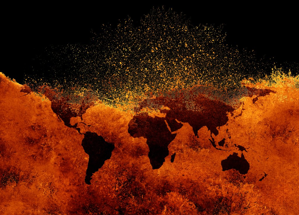 An illustration of a map showing rising global heat