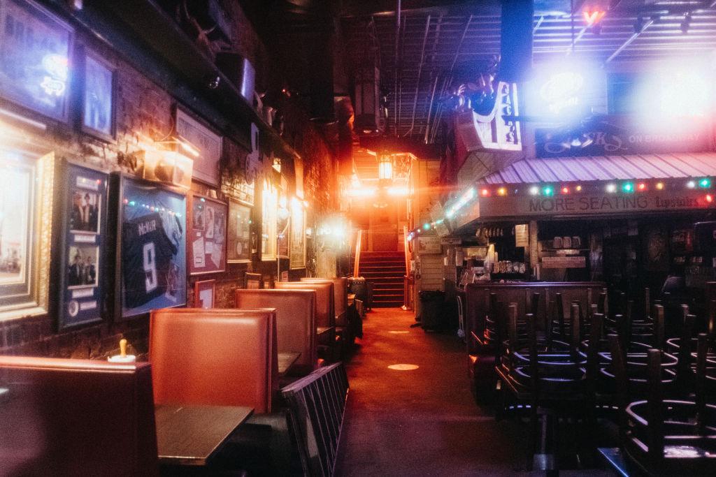 Interior of a dark restaurant
