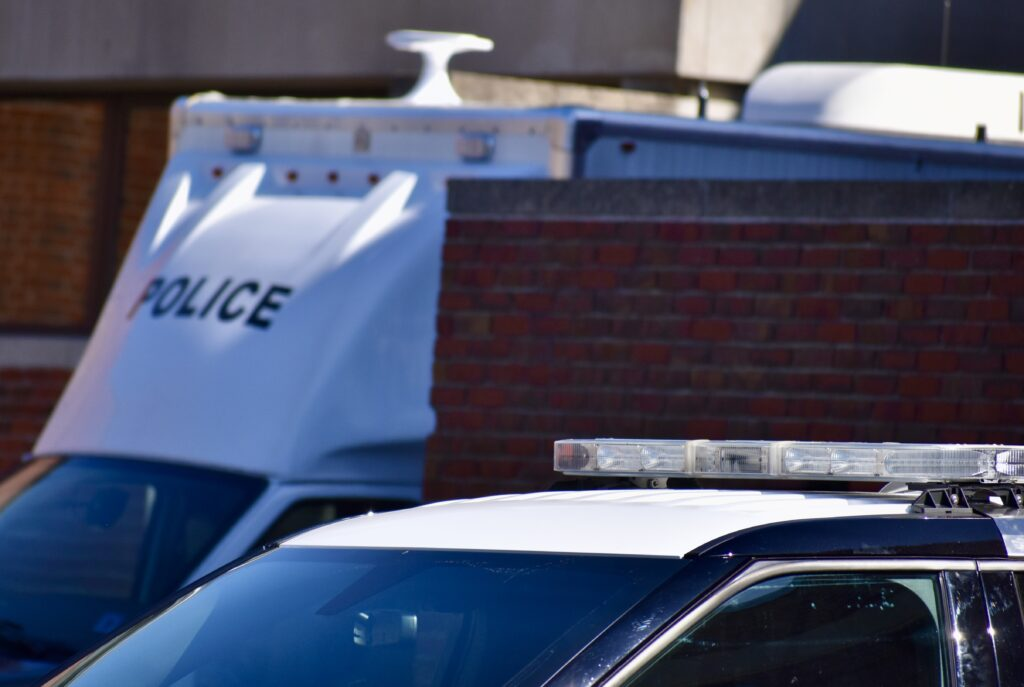 Close-up of police vehicles