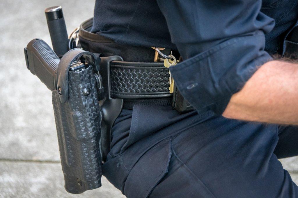 A closeup of a police gun belt