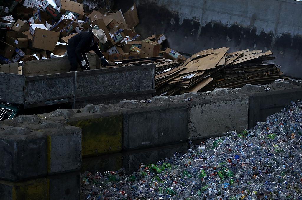 Cardboard in a recycling bin
