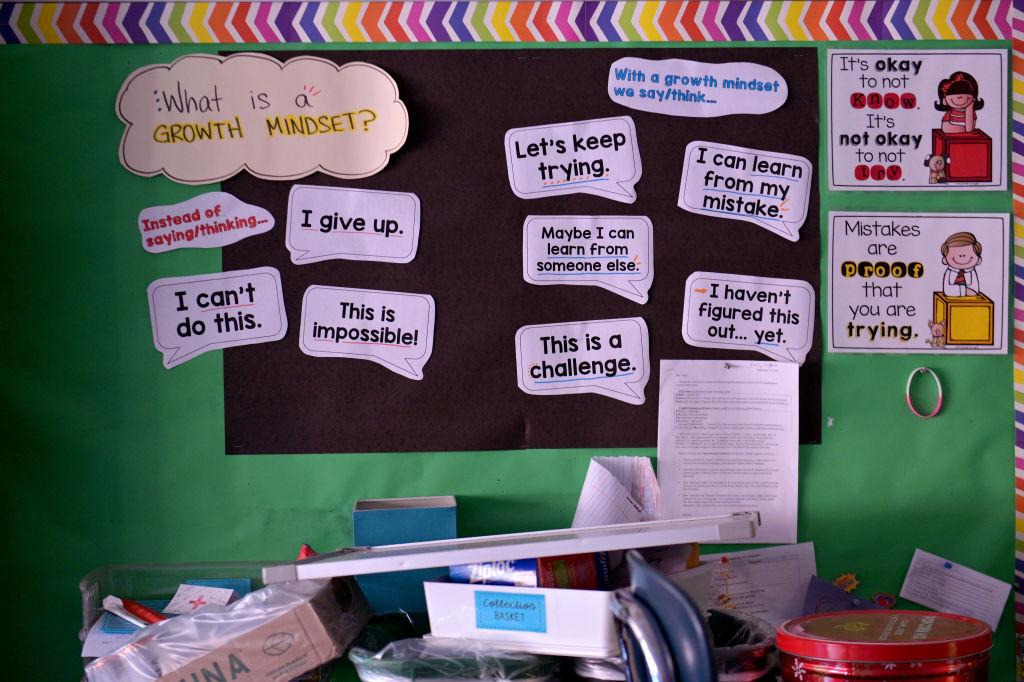 A bulletin board in an elementary school classroom