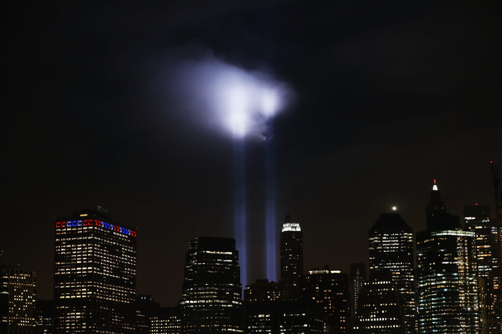 """The """"Tribute in Light"""" memorial at the World Trade Center"""