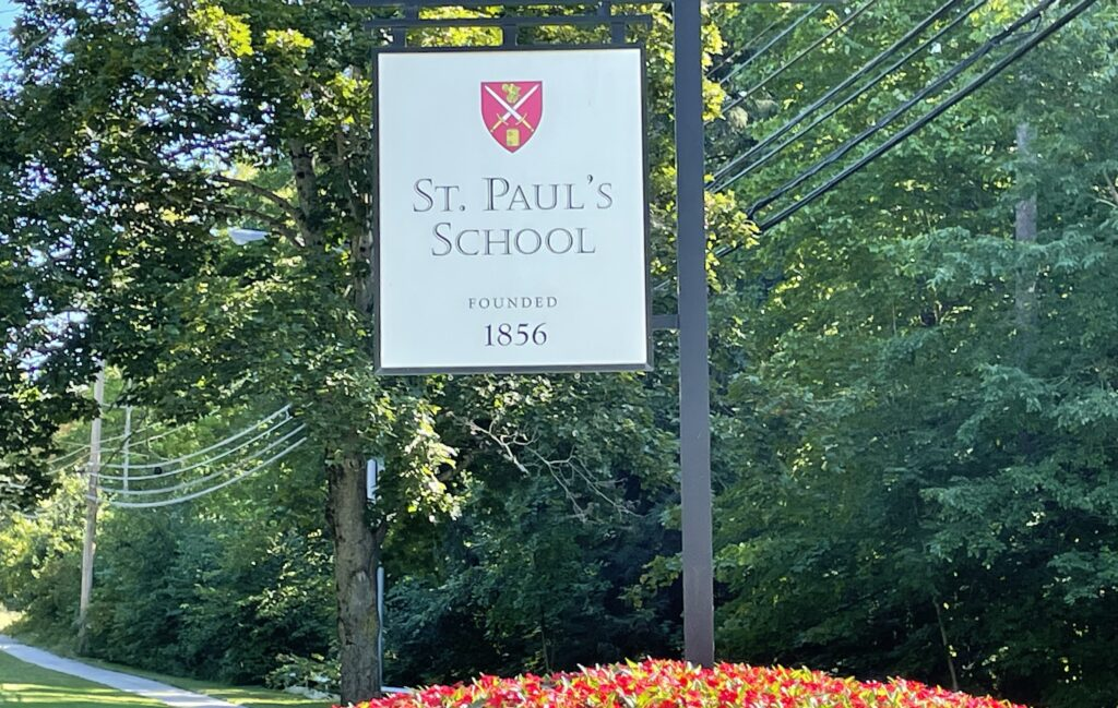 A sign on the campus of St. Paul's school