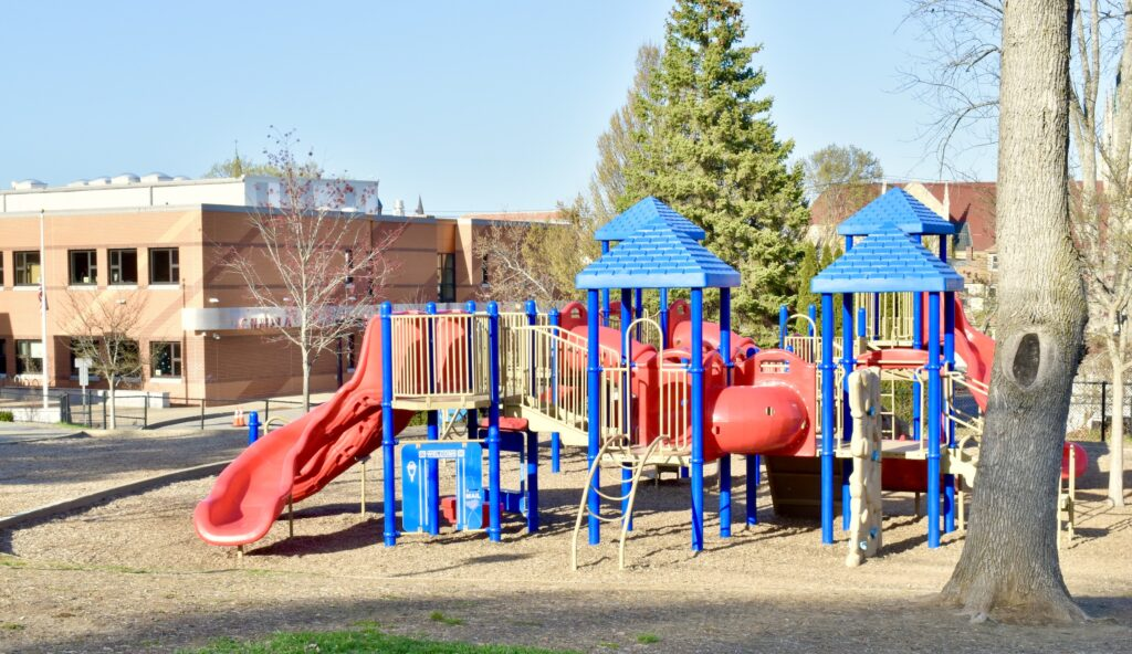 An empty public school playground