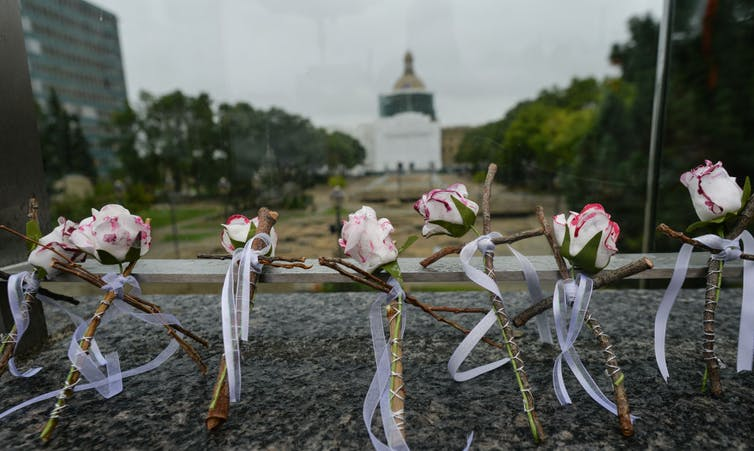 Flowers in the foreground with a blurry expanse and building in the background