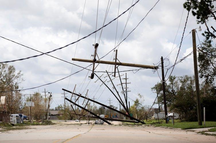 Downed power lines in Louisiana following Hurricane Ida