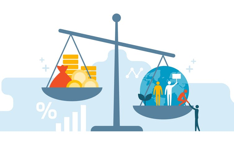 A graphic showing a scale with people and money out of balance