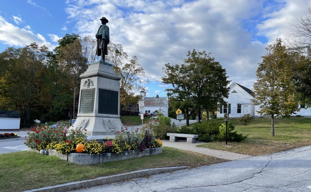 A statue in a public space in Warner, New Hampshire