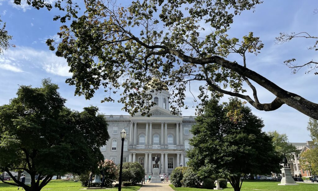 The State House dome behind a tree branch